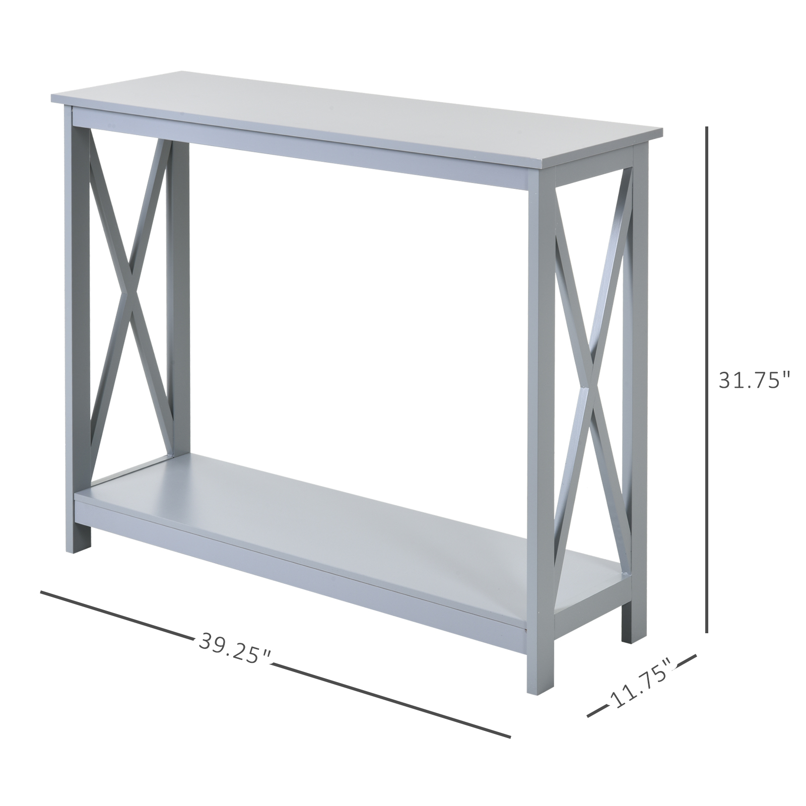 homcom 2 tier bench sofa console table with underneath storage shelf for the entryway living room hallway grey