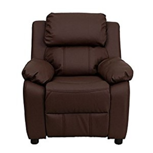 Flash Furniture Kids Recliner with Storage Arms Brown