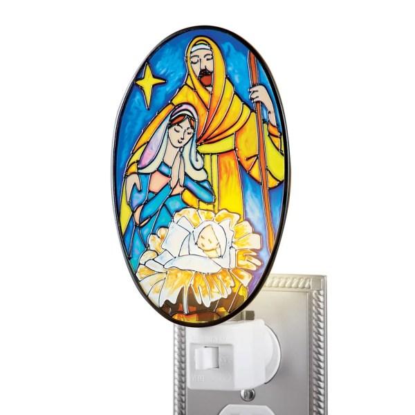 Nativity Scene Mosaic Stained Glass Night Light Beautiful