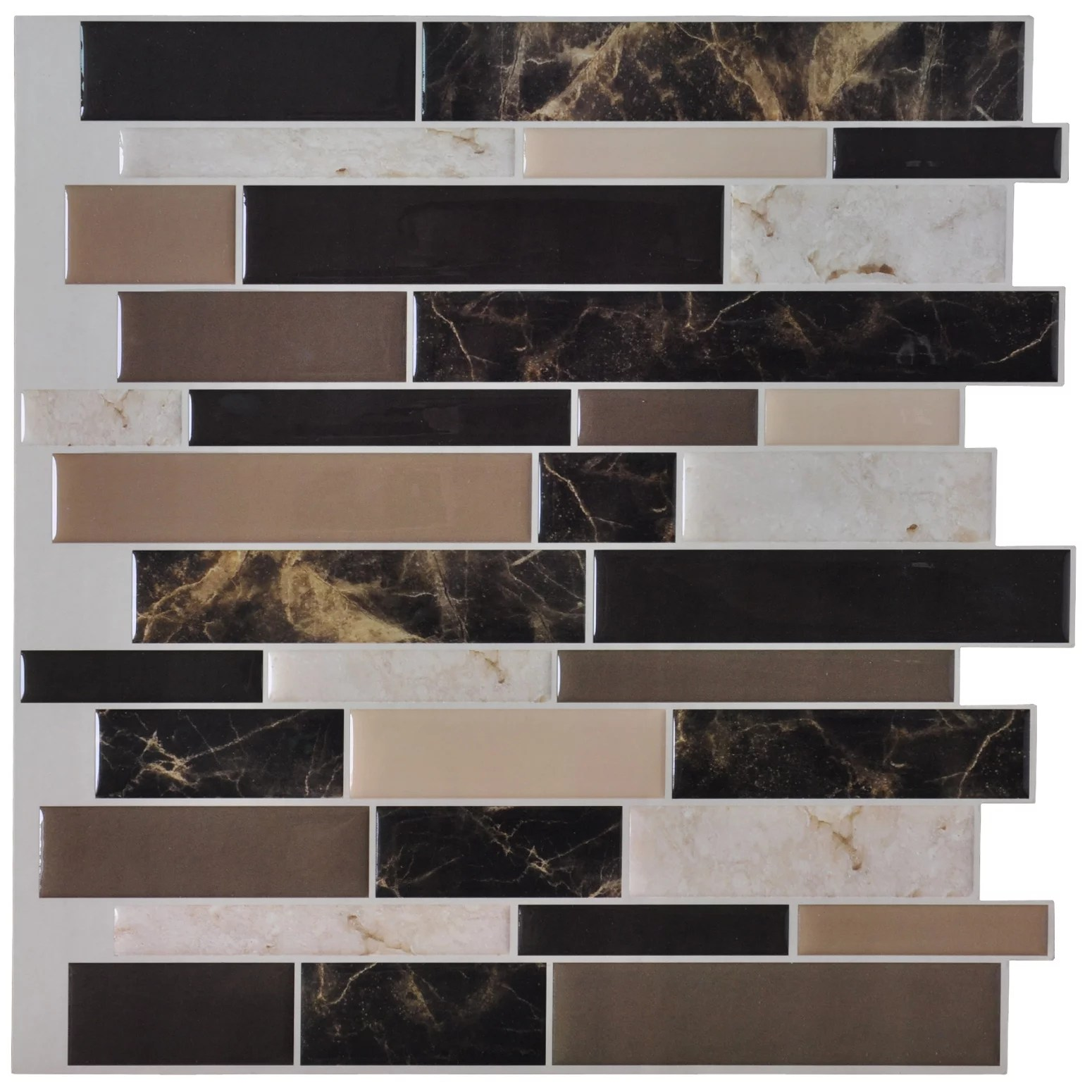 stick on backsplash tiles for kitchen natural maple cabinets self adhesive wall tile peel and 12 x12 6 sheets walmart com