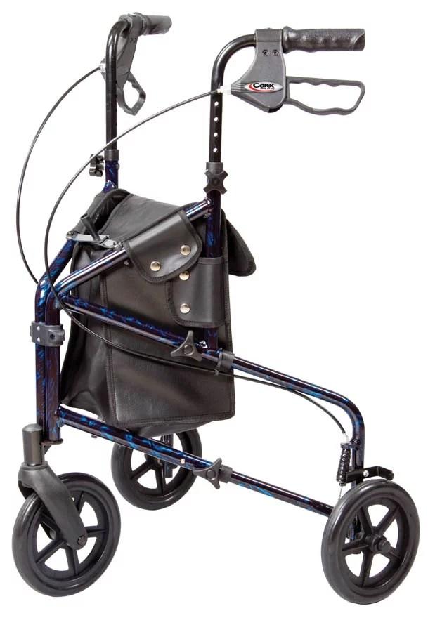 walker roller chair blue chairs resort by the sea carex trio 3 wheel rolling rollator walmart com