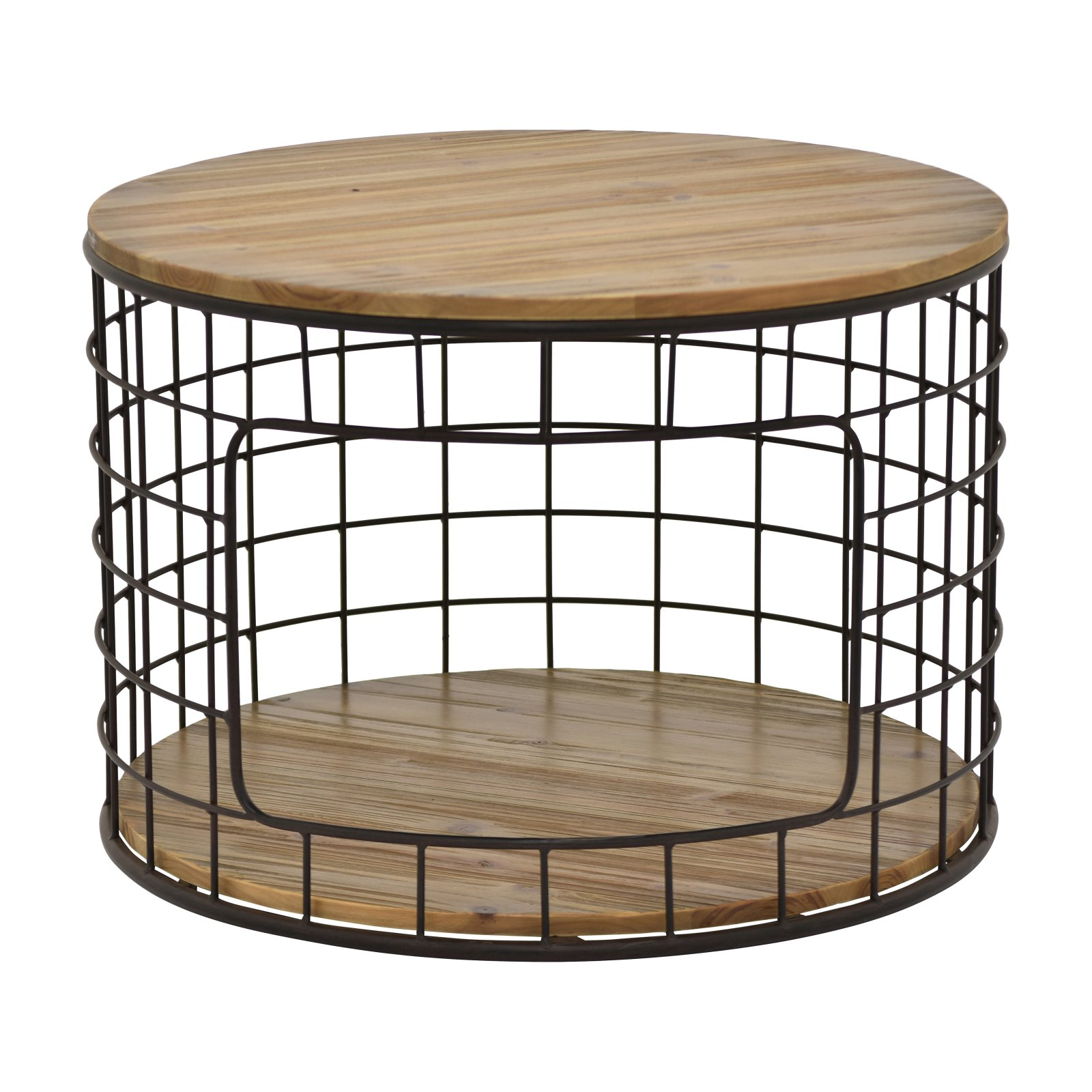 three hands round metal wire and wood coffee table