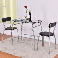 Bistro Chairs Dining Room For Vanity Costway 3 Pc Set Breakfast Tempered Glass Table Top Furniture Walmart Com