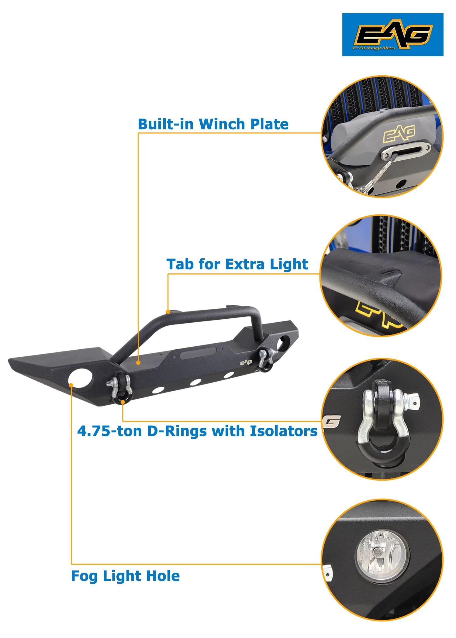 Eag Jeep Parts : parts, 07-18, Wrangler, Front, Bumper, Walmart.com