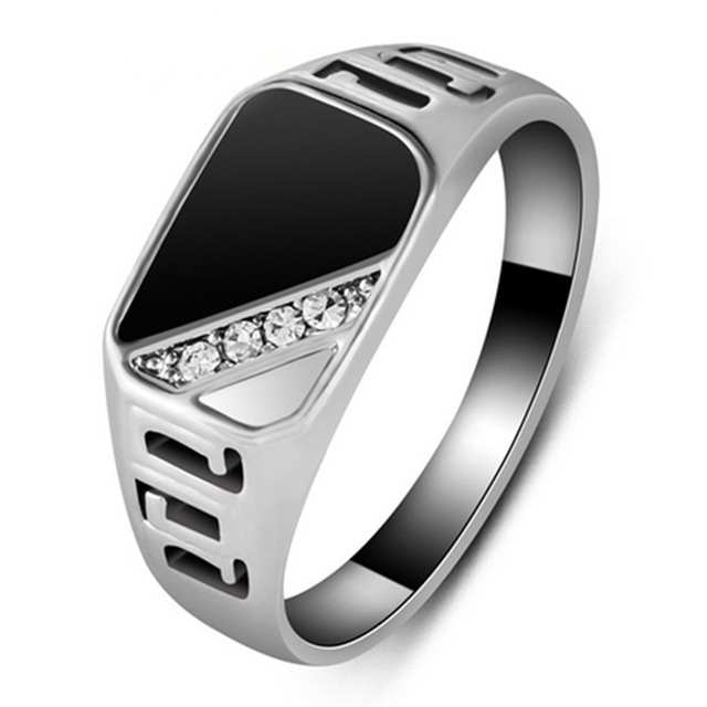 Dymade men   retro ring gold plated stainless steel cubic zirconia black onyx stone also rings walmart rh