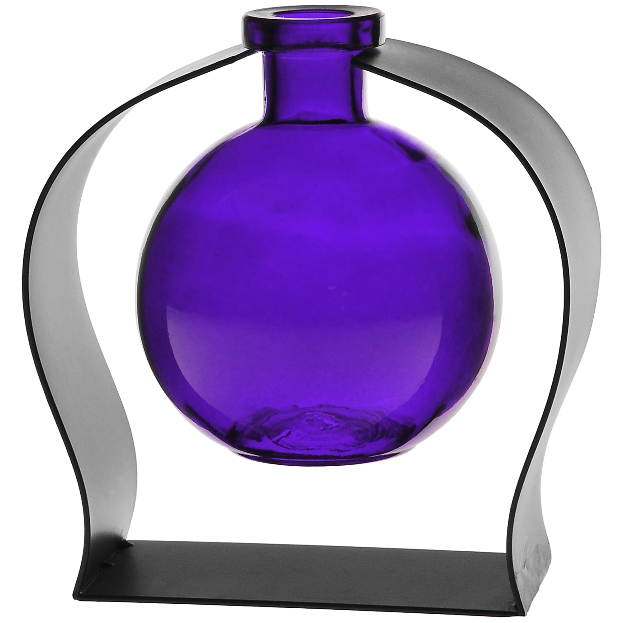 Couronne Co Ball Recycled Glass Vase and Arched Metal Stand. M244-200-00-P. 6 inches tall. 8.5 ounces. Clear - Walmart.com