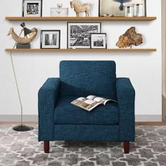 Walmart Living Room Chairs Small Spaces Modern Tufted Linen Fabric Armchair Chair Dark Blue