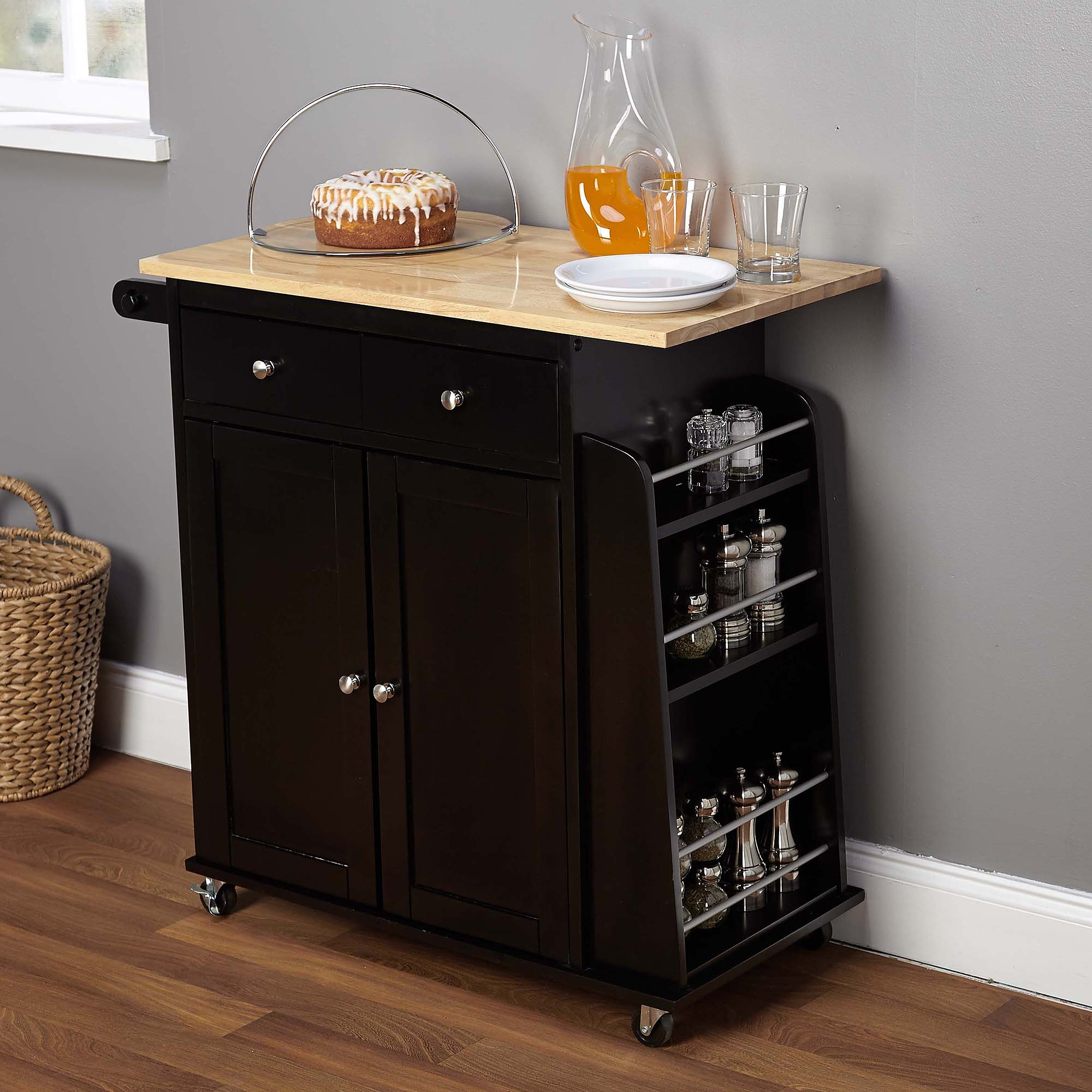HomCom Home Basics Kitchen Cart with Double Drawers and