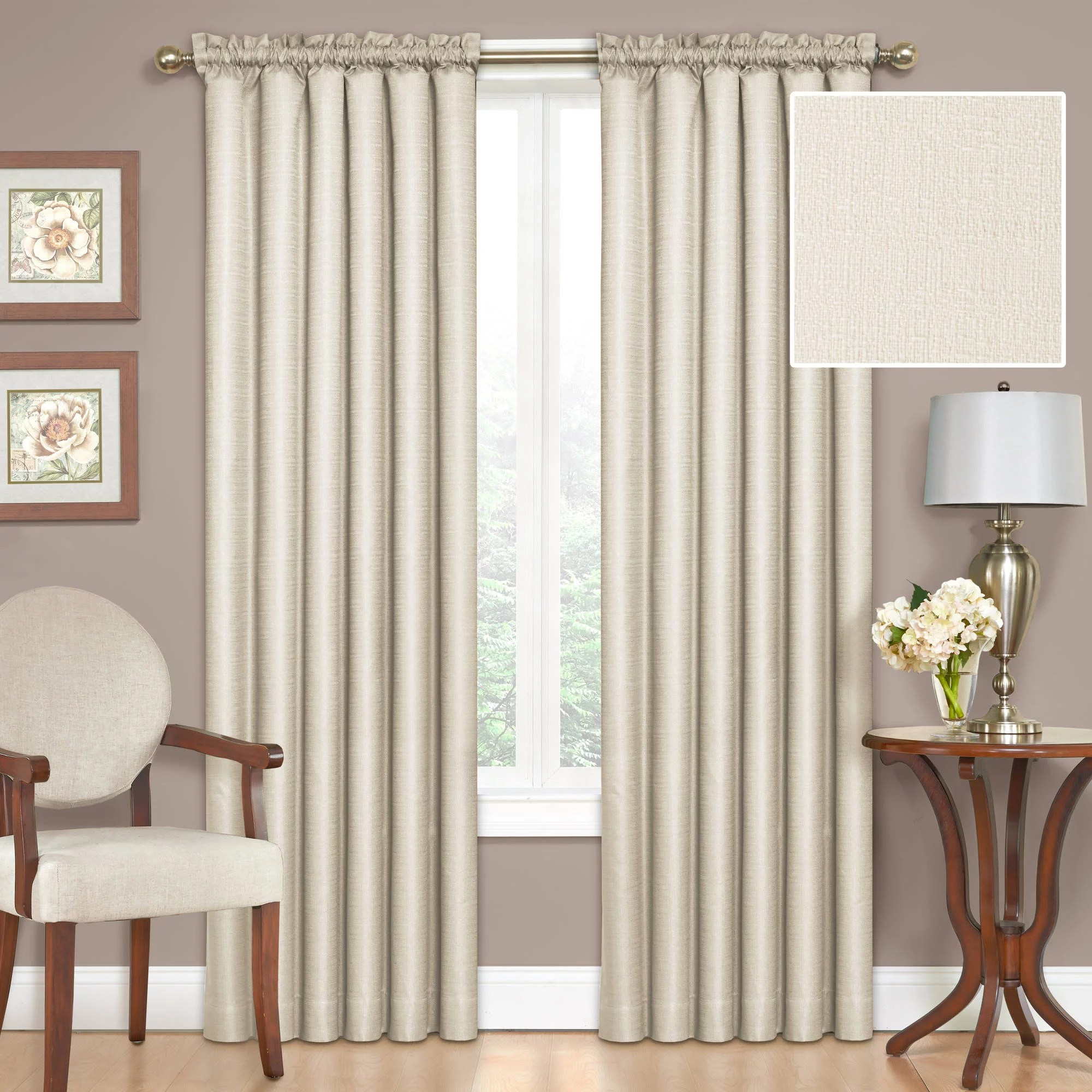 eclipse samara solid color blackout rod pocket single curtain panel ivory 42x54