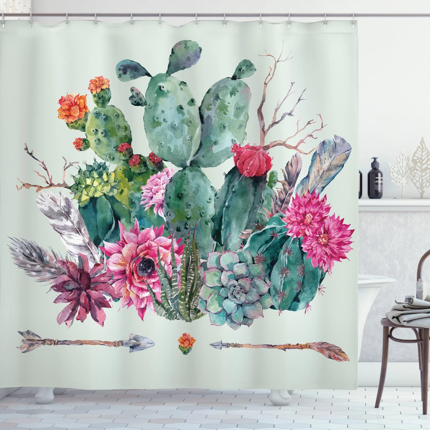 cactus shower curtain spring garden with boho style bouquet of thorny plants blossoms arrows feathers fabric bathroom set with hooks multicolor by