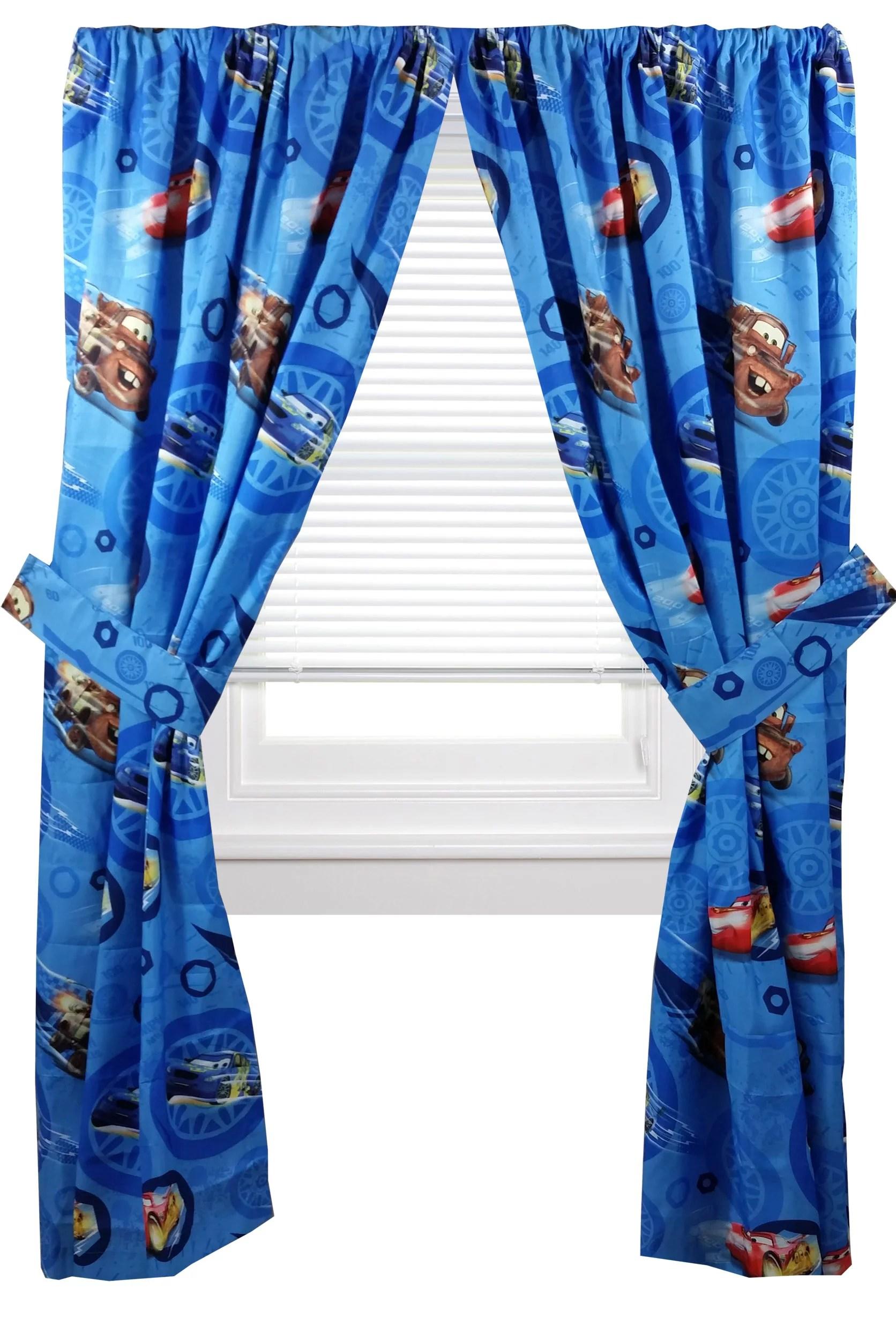 Disney Cars Boys Bedroom Curtains Set Of 2 Panels & Tie Backs