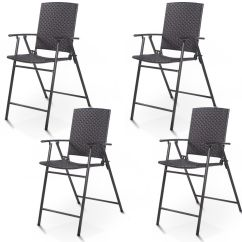 Folding Bar Stool Chairs Bentwood With Cane Seat And Back Costway 4 Pcs Rattan Wicker Chair Indoor Outdoor Furniture Brown Walmart Com