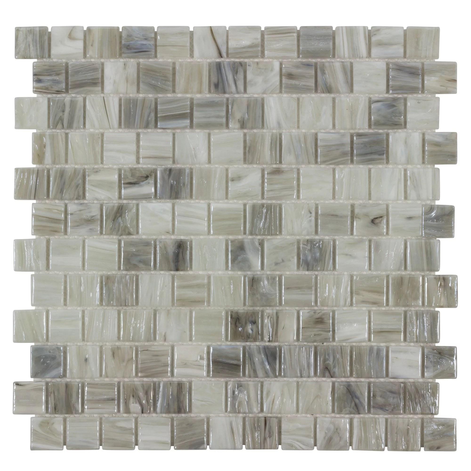 mto0509 modern 1x1 square gray beige glossy hot glass mosaic tile walmart com
