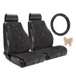 Pilot Gold Seat Cover Combo Embellished With Swarovski Crystals Fit Most Cars Suvs Trucks Vans Walmart Com Walmart Com