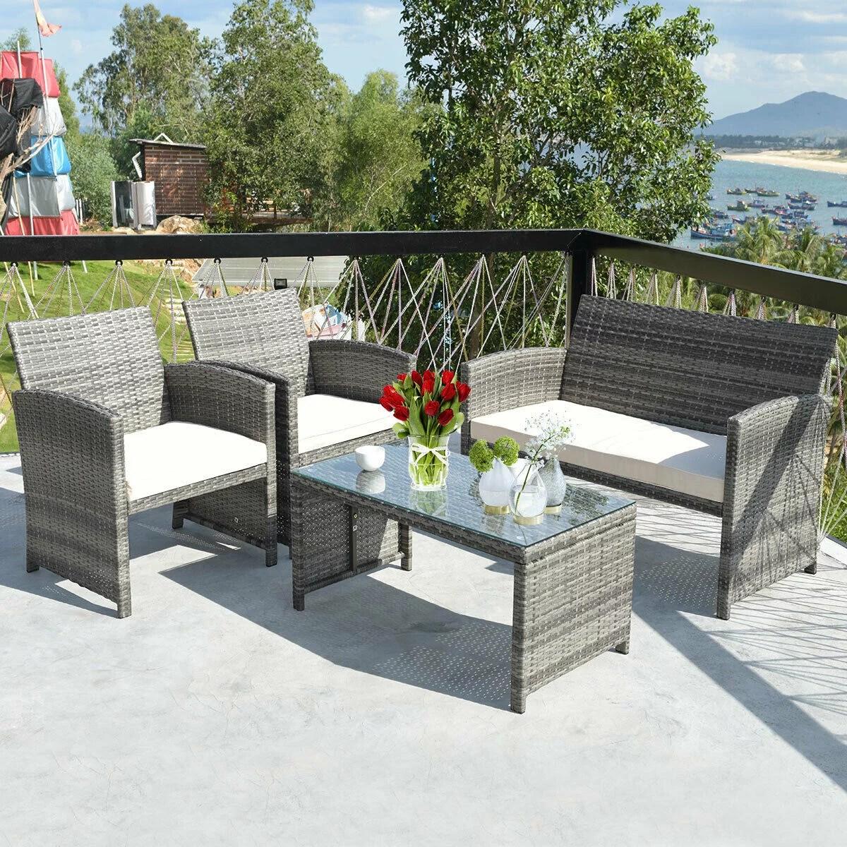 costway 4 pc rattan patio furniture set garden sofa with white cushions