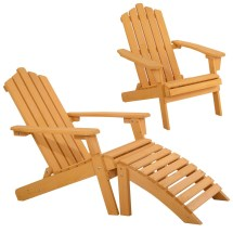 Wood Adirondack Chair With Ottoman Outdoor Patio Deck Garden