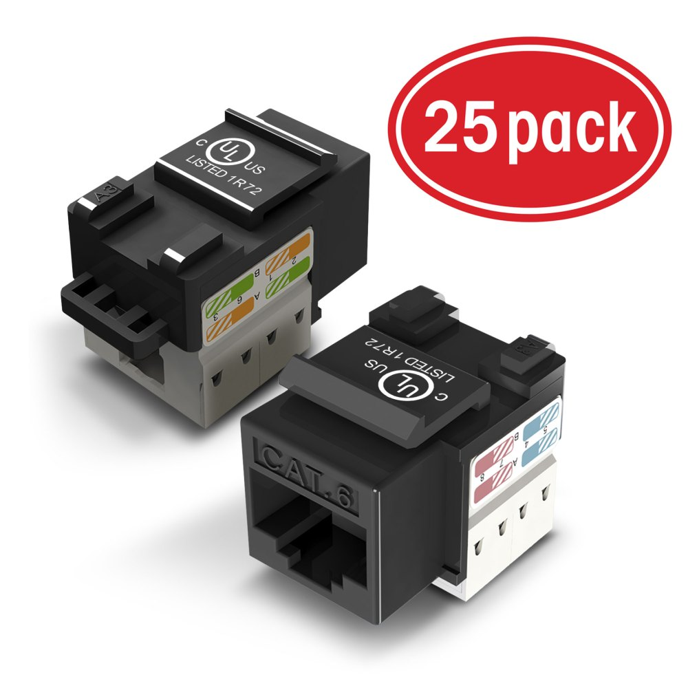 medium resolution of 25 pack ethernet keystone gearit cat6 rj45 punch down keystone jack connector black walmart com