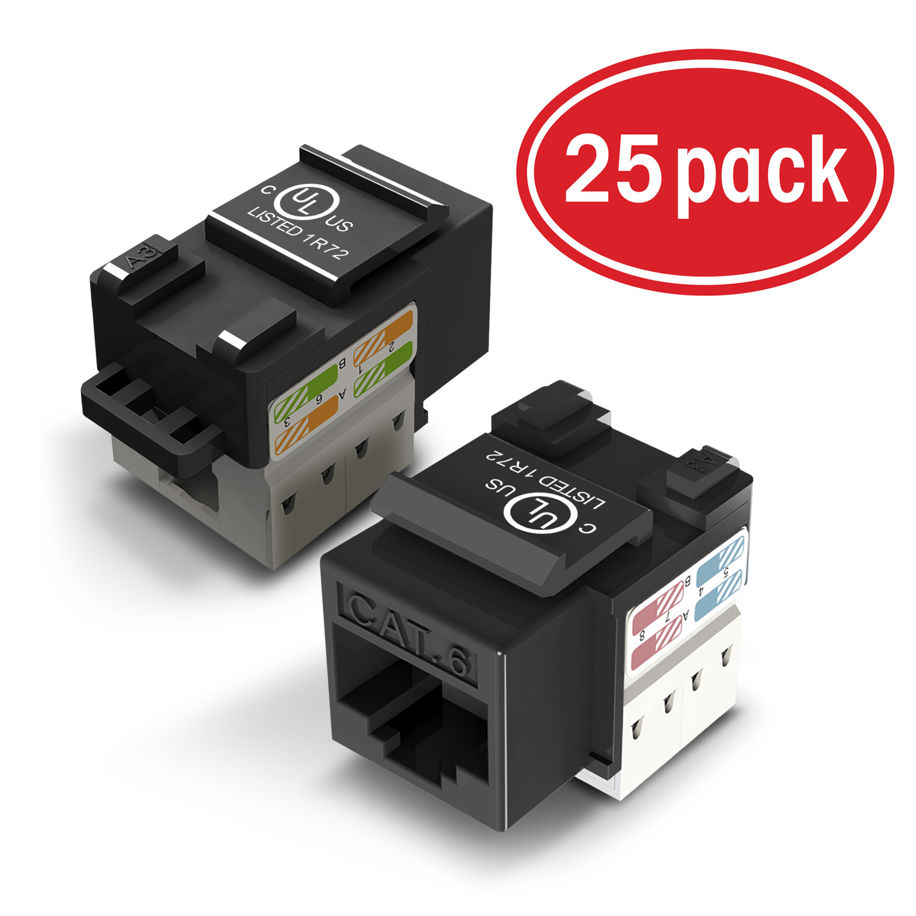 hight resolution of 25 pack ethernet keystone gearit cat6 rj45 punch down keystone jack connector black walmart com
