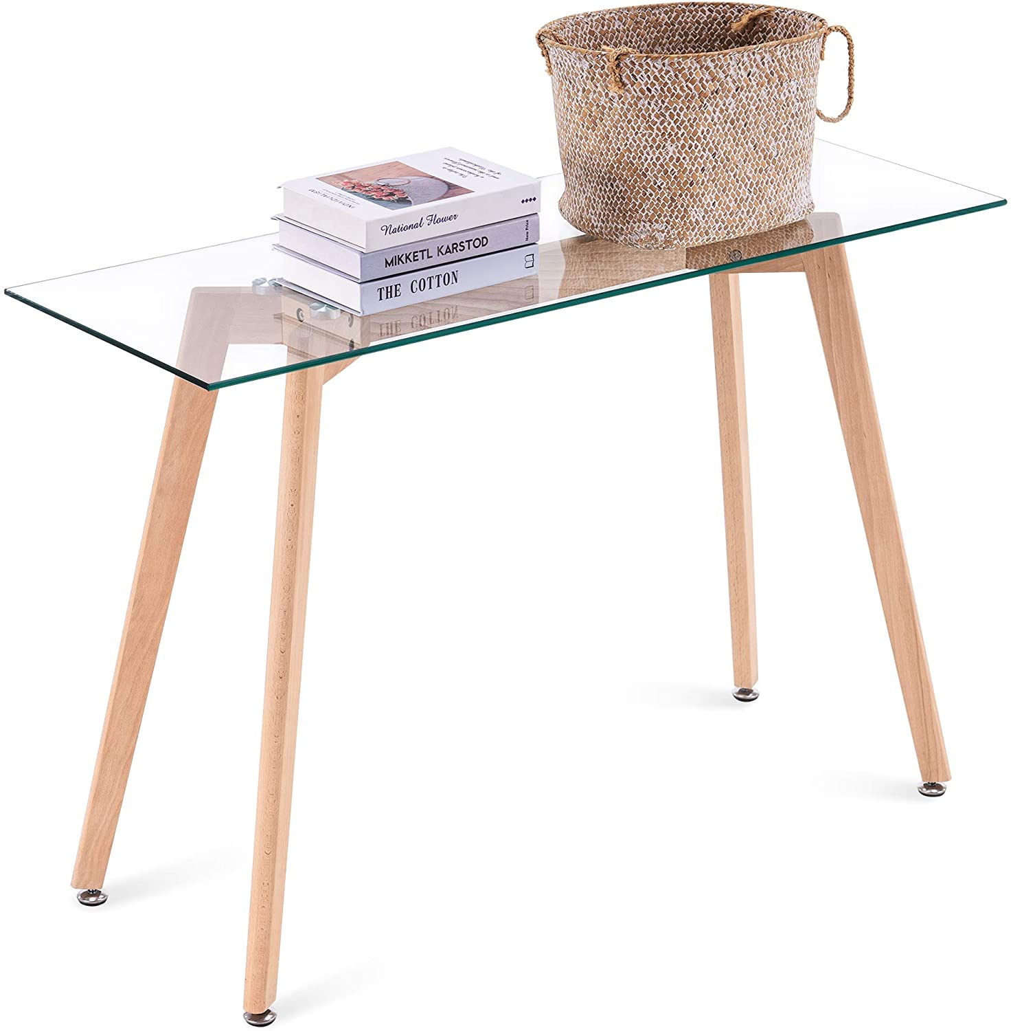 ivinta narrow glass desk modern glass console table glass writing desk small dining table small computer desk entryway table narrow desk small desks