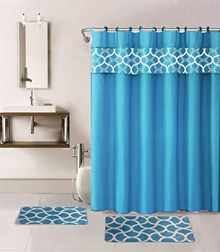 15 piece hotel bathroom sets 2 non slip bath mats rugs fabric shower curtain 12 hooks geometric turquoise