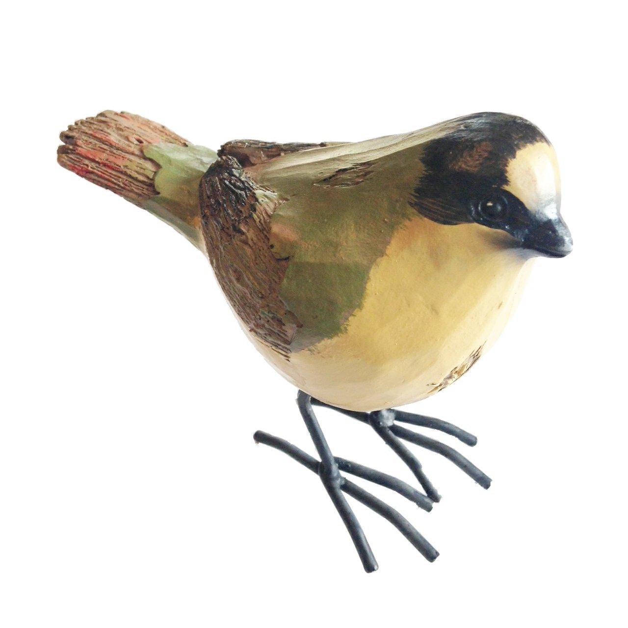 KK Interiors Green and Yellow Resin Bird Standing 35H Woodlook bird made out of polyresin