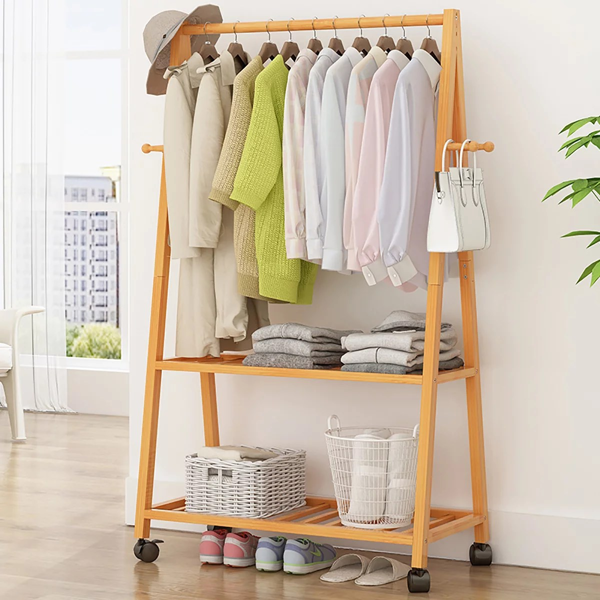 28 39inches heavy duty clothes rack 2 tier hanging garment rack bamboo shelf closet organizer clothes hanger with wheels easy to assemble