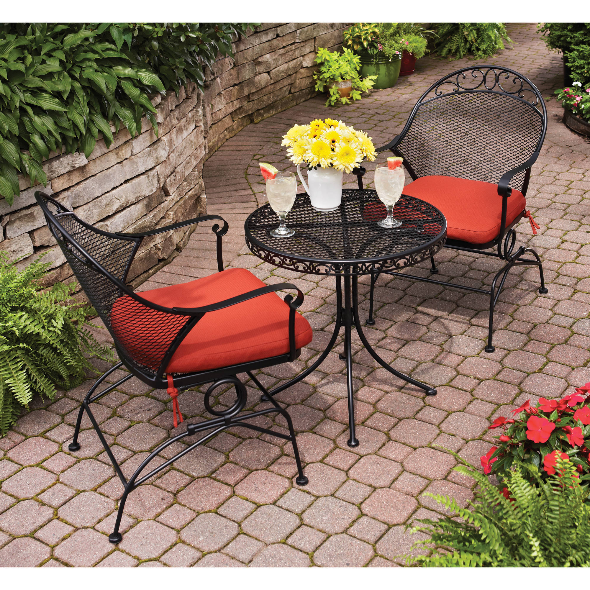 Metal Bistro Table And Chairs Better Homes And Gardens Clayton Court Motion Outdoor Bistro Set