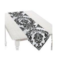 Black and White Elegant Flocked Design Table Runner ...