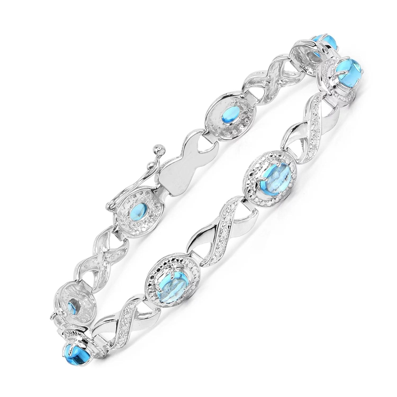 Genuine Swiss Blue Topaz Bracelet in Sterling Silver