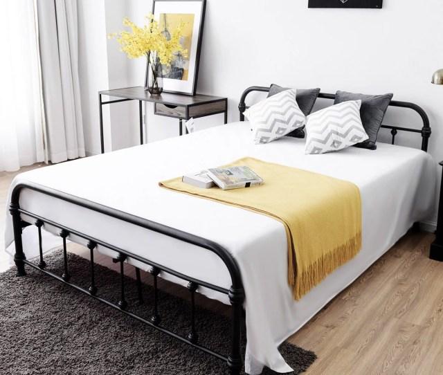 Costway Queen Size Metal Steel Bed Frame W Stable Metal Slats Headboard Footboard Black Walmart Com