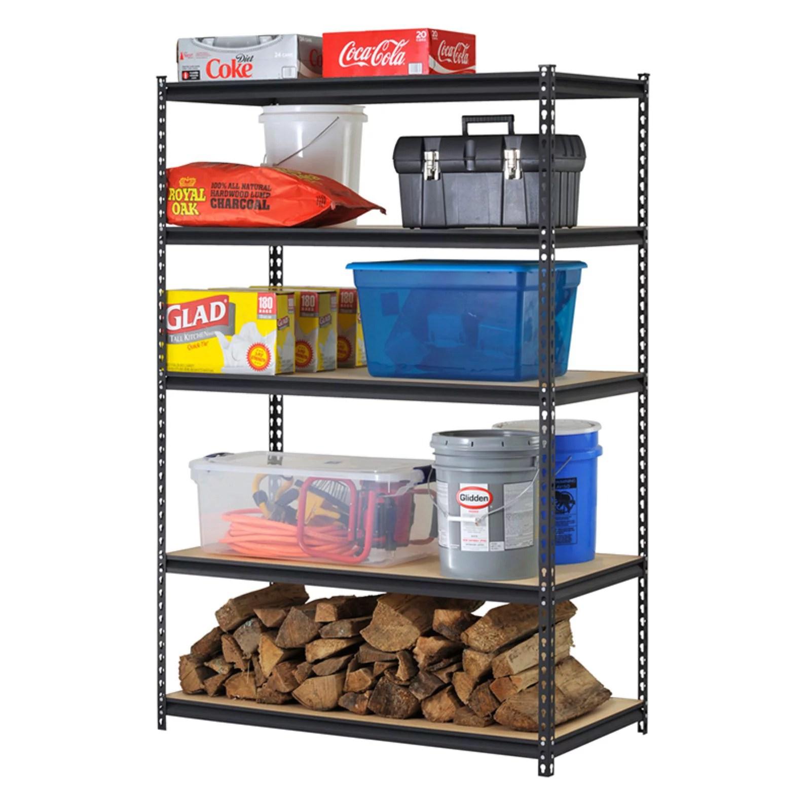 muscle rack 72 in h x 48 in w x 18 in d 5 shelf steel shelf unit in black