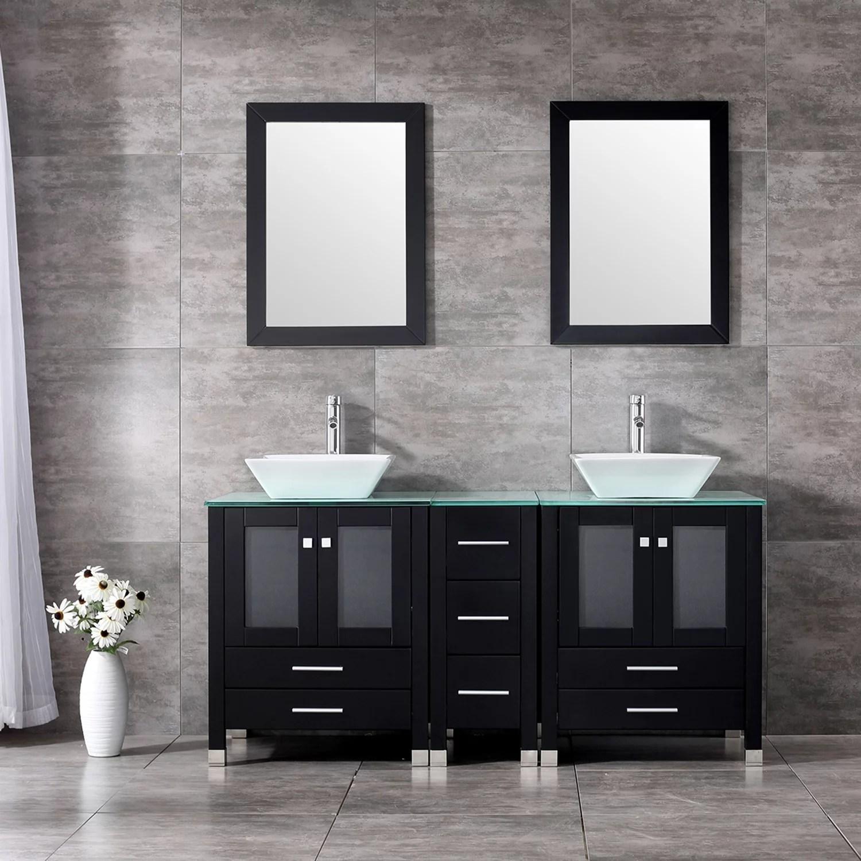 60 Double Bathroom Vanity Combo Set Double Porcelain Vessel Sink Solid Wood Cabinet Glass Top W Mirror Faucet Walmart Com Walmart Com