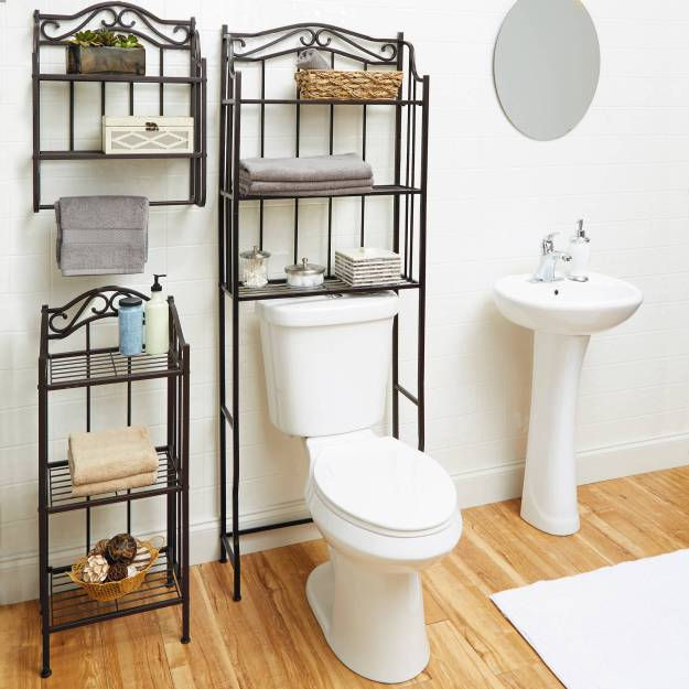 3 shelf bathroom storage rack space saver over toilet oil-rubbed