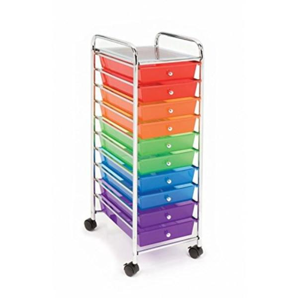 10-drawer Organizer Cart Translucent Color-coded Pure Organization - 10 Drawers Provide Plenty