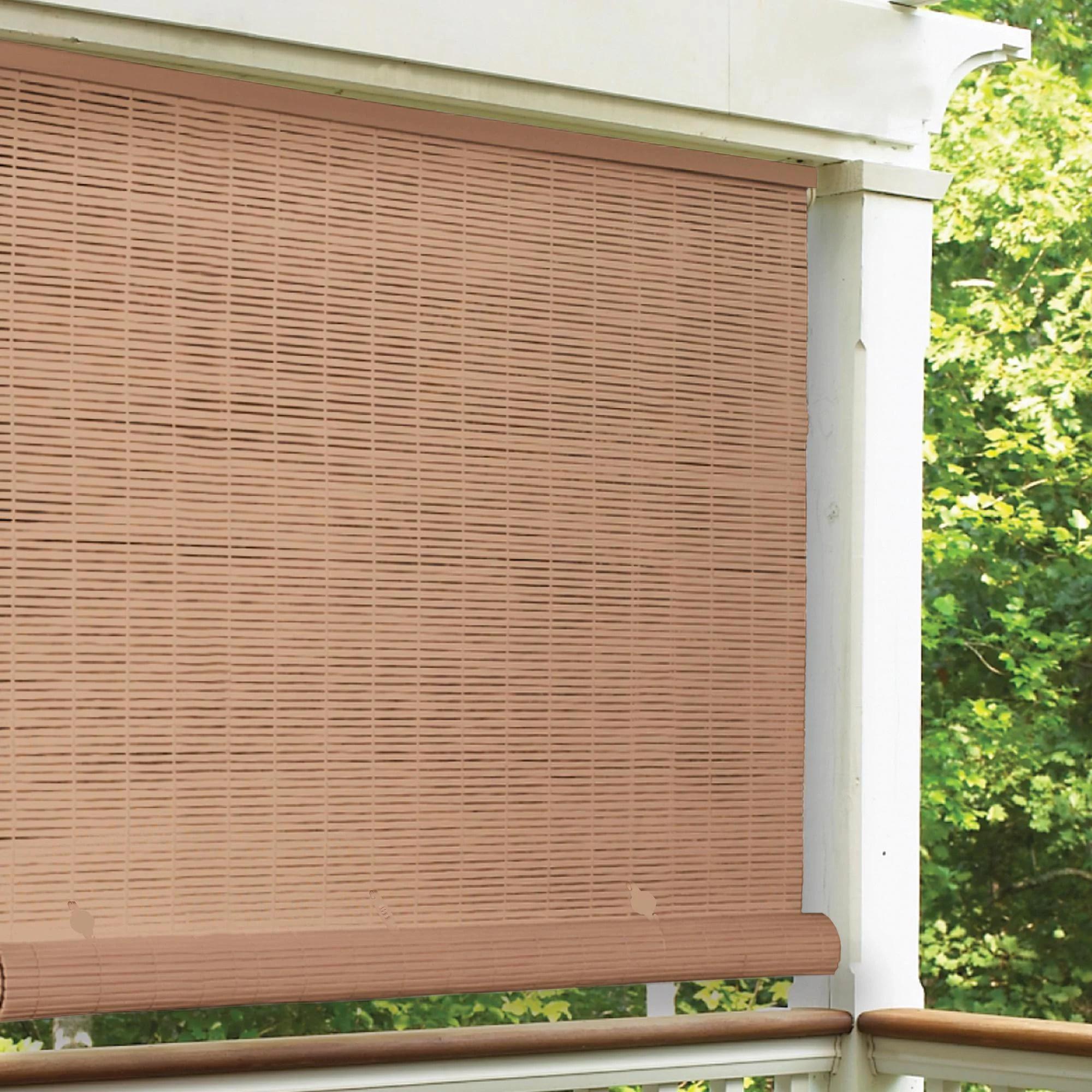 radiance 4 x 6 cordless 1 4 pvc roll up outdoor sun shade woodgrain