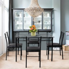 Chairs For Kitchen Wallpaper Backsplash Gymax 5 Piece Dining Set Glass Top Table 4 Upholstered Room Furniture