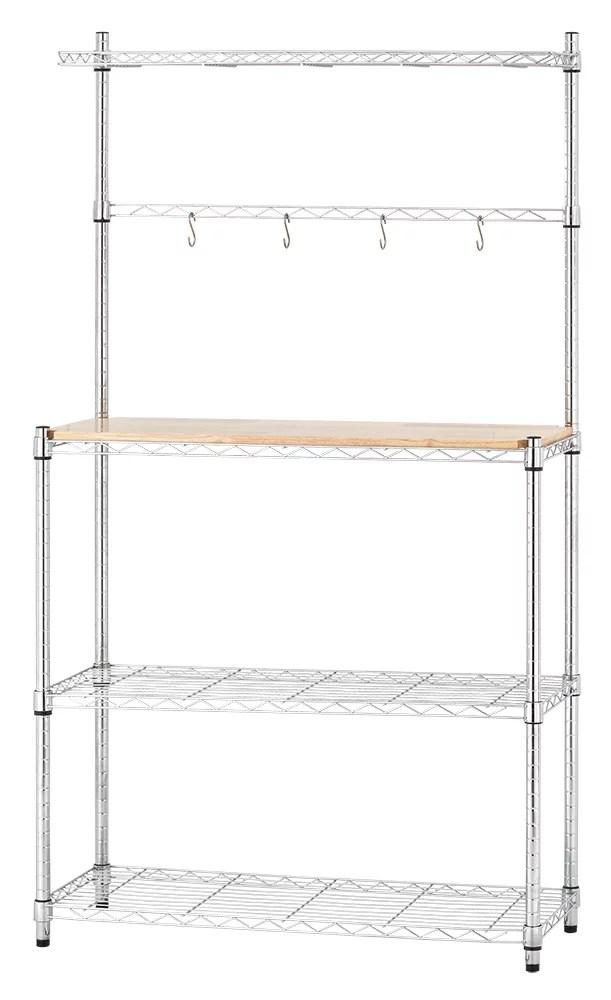 mainstays chrome plated silver metal baker s rack with wood shelf walmart com