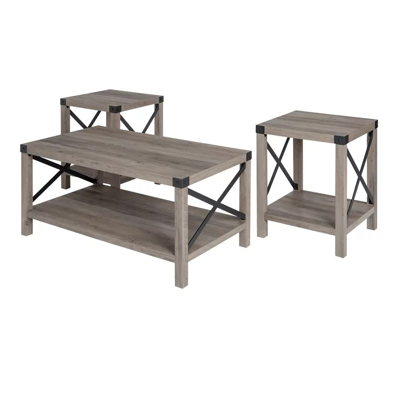 pemberly row 3 piece rustic wood and metal coffee table set in gray wash walmart com