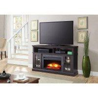 "Media Fireplace TV Stand TVs up to 65"" Black White ..."