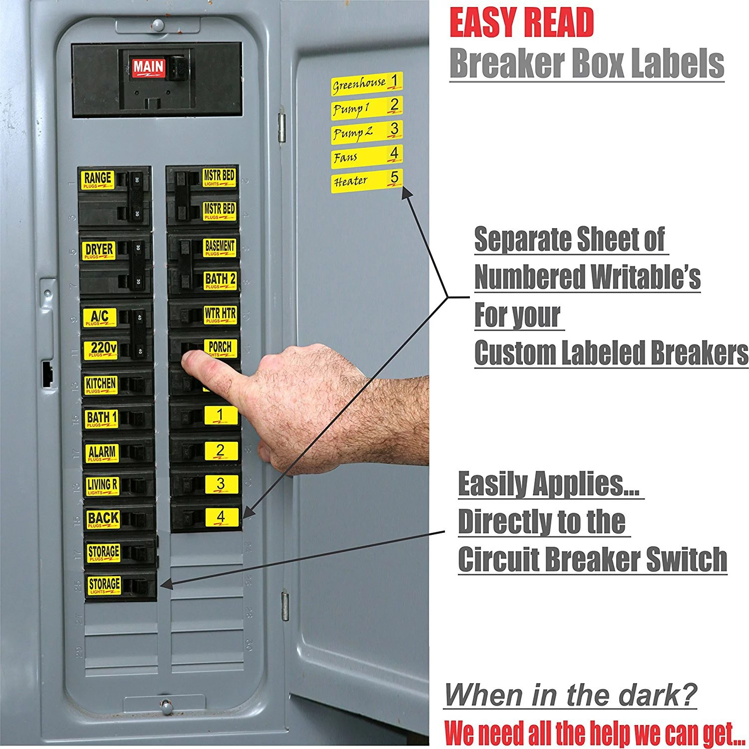 hight resolution of easy read breaker box decals tough vinyl labels for circuit breakers great for home owners apartment complexes and electricians