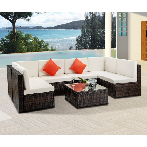 outdoor patio furniture sets clearance segmart new 7 pieces wicker patio furniture set with seat cushions tempered glass coffee conversation sets