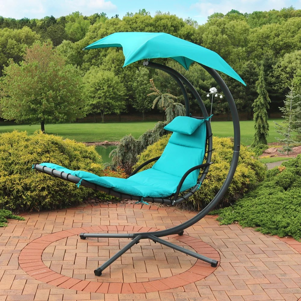 sunnydaze teal floating chaise lounger swing chair with canopy umbrella 43 inch wide x 80 inch tall walmart com