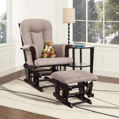 Walmart Rocking Chair Glider Yoga Ball Reviews Storkcraft Bowback And Ottoman Espresso With Beige Com