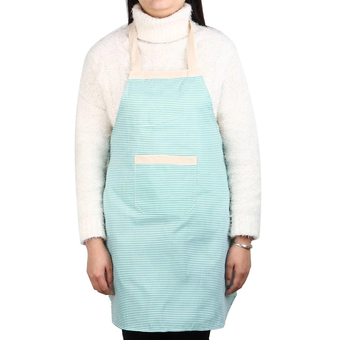 kitchen wear discount cabinets las vegas stripe pattern anti front patch pocket cooking baking apron green