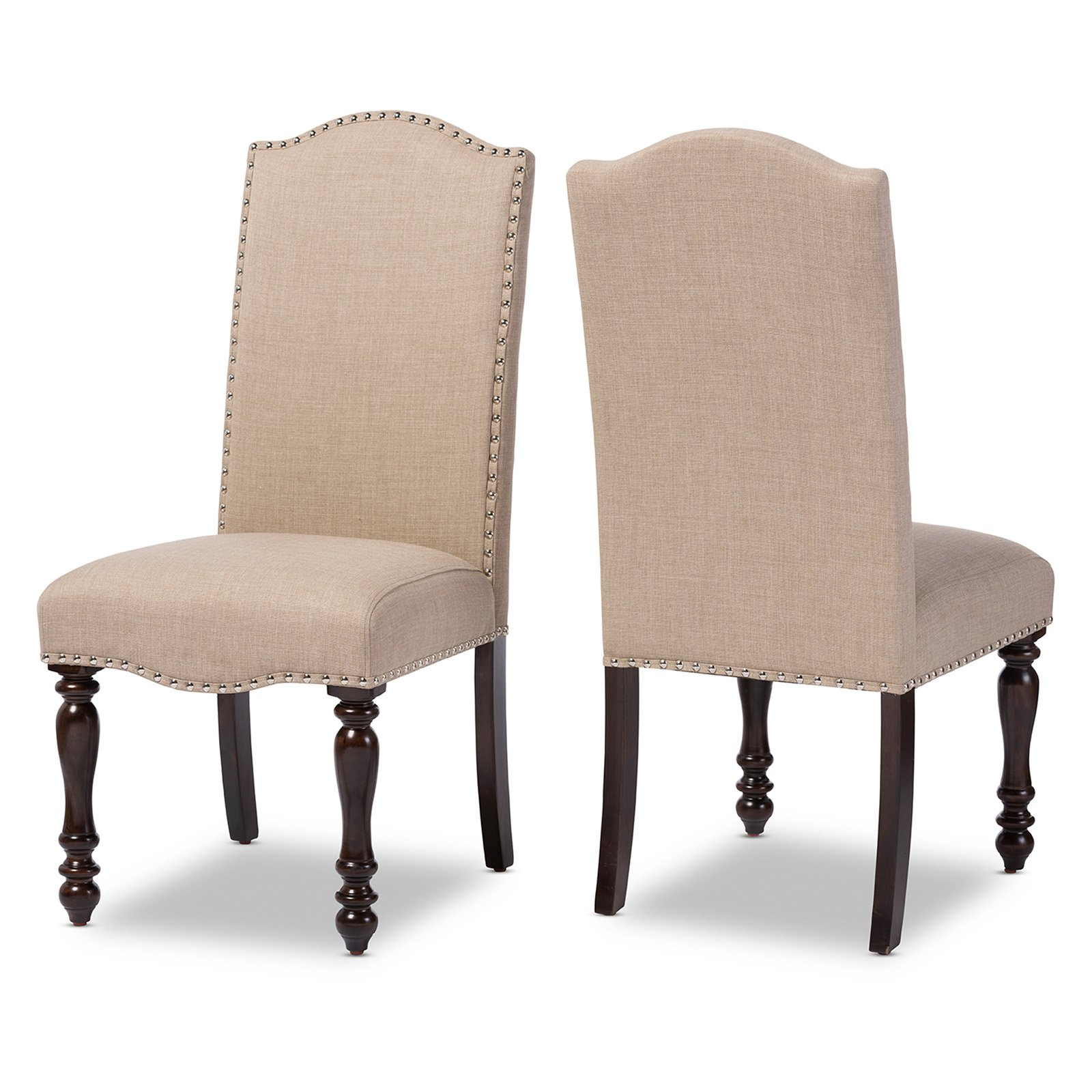 vintage oak dining chairs discontinued thomasville baxton studio zachary chic french brown beige linen fabric upholstered chair set of 2 walmart com