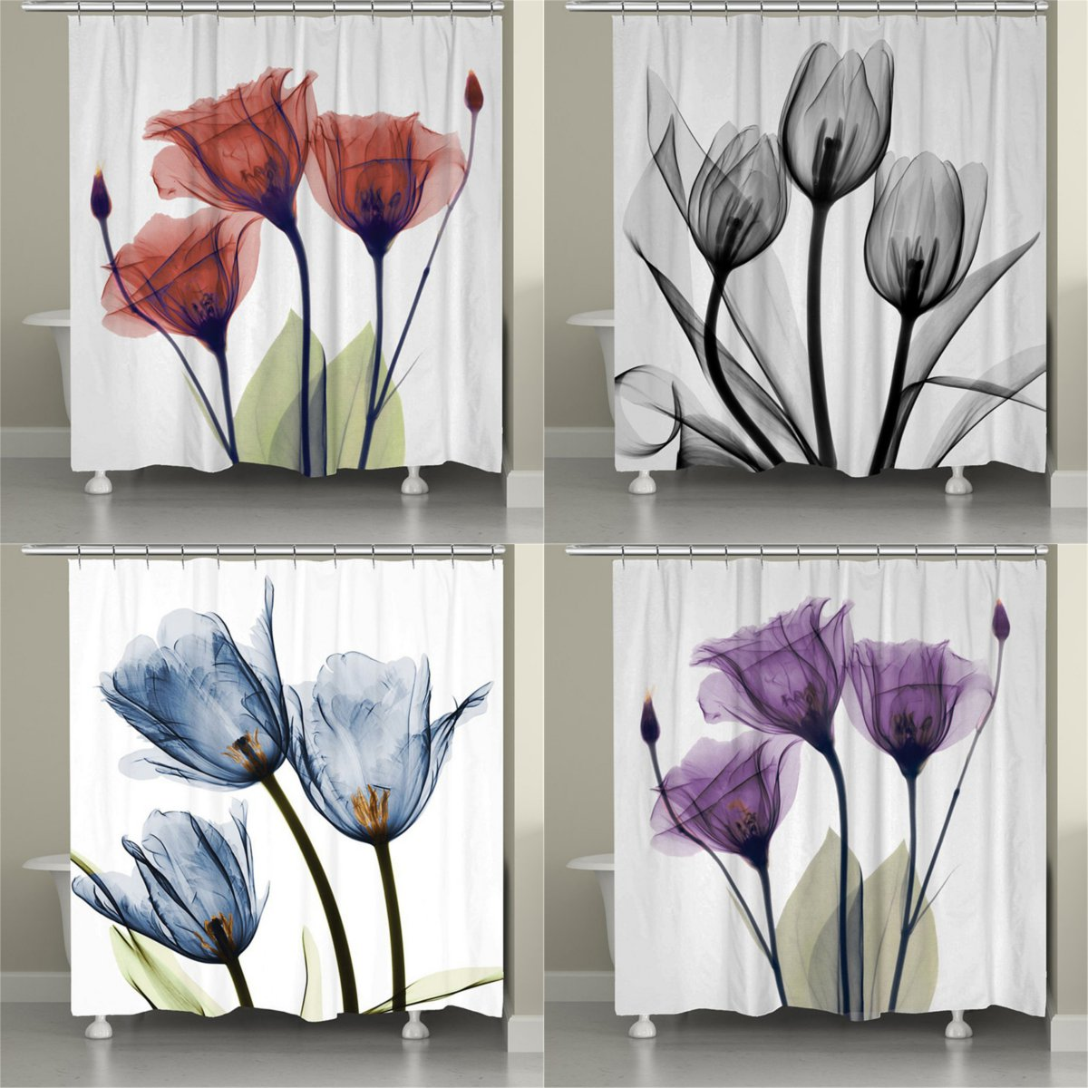 watercolor flannel tulip flower shower curtain summer colorful tulip flowers curtain in retro style painting effect nature is art cloth fabric