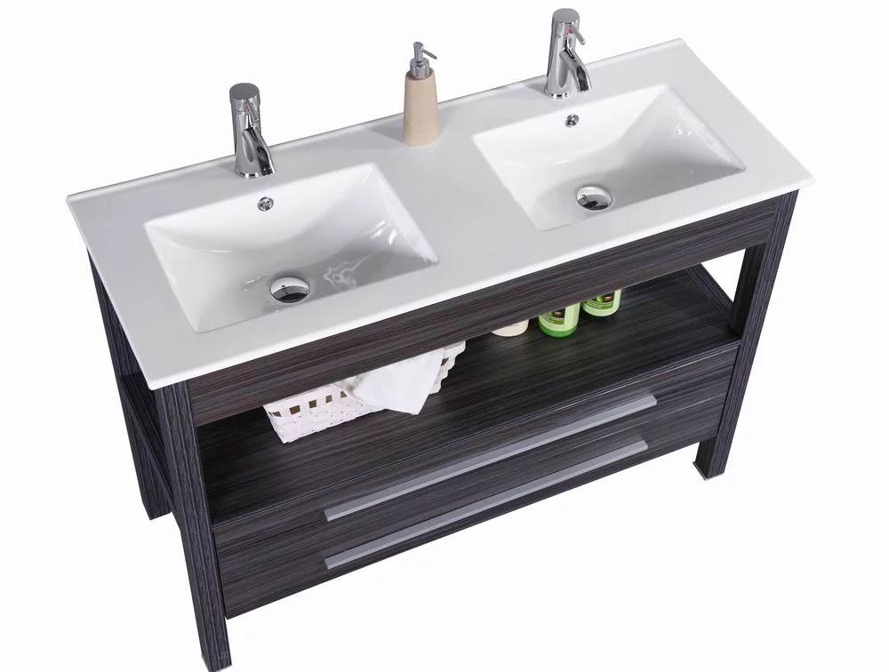 48 inch freestanding modern veneer double sink bathroom vanity w stone top