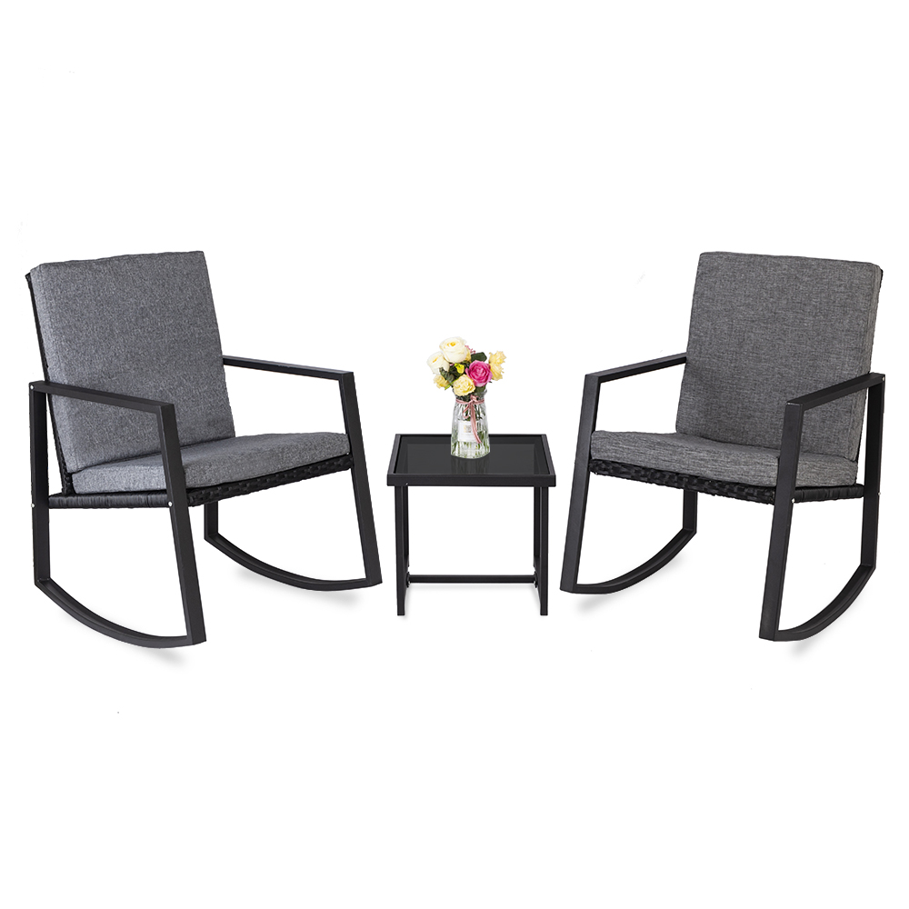promotion clearance patio rocking chair 3pcs set patio wicker rattan bistro furniture outdoor rocker chair cushion w glass coffee table set