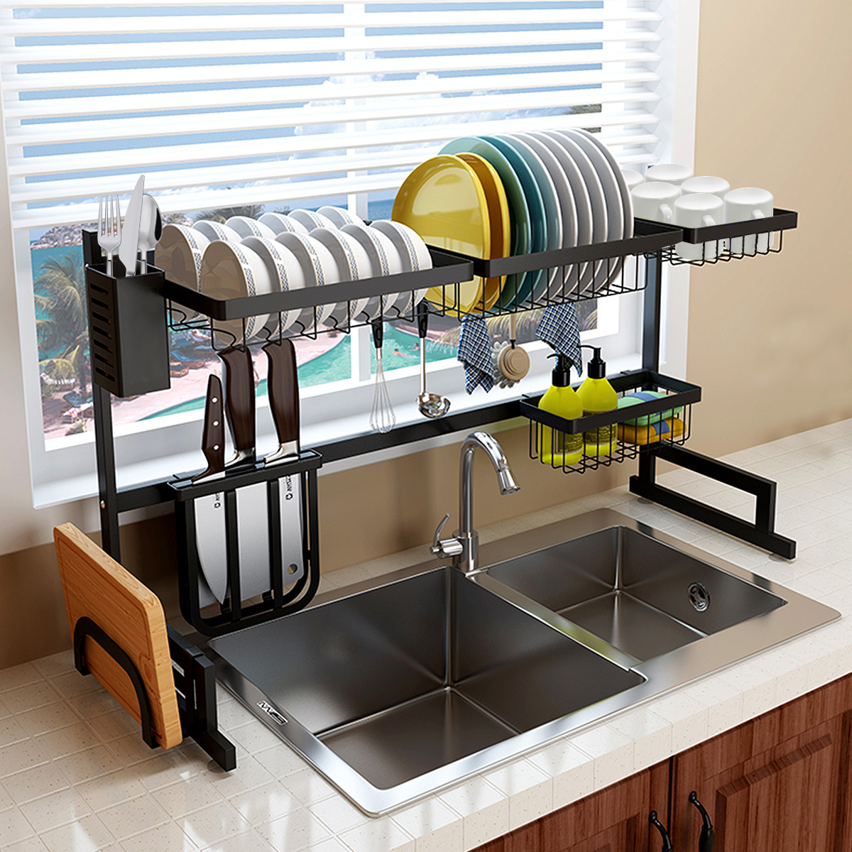over the sink dish drying rack kitchen sink organizer dish rack stainless steel over the sink shelf storage rack w utensils holder hooks dish for