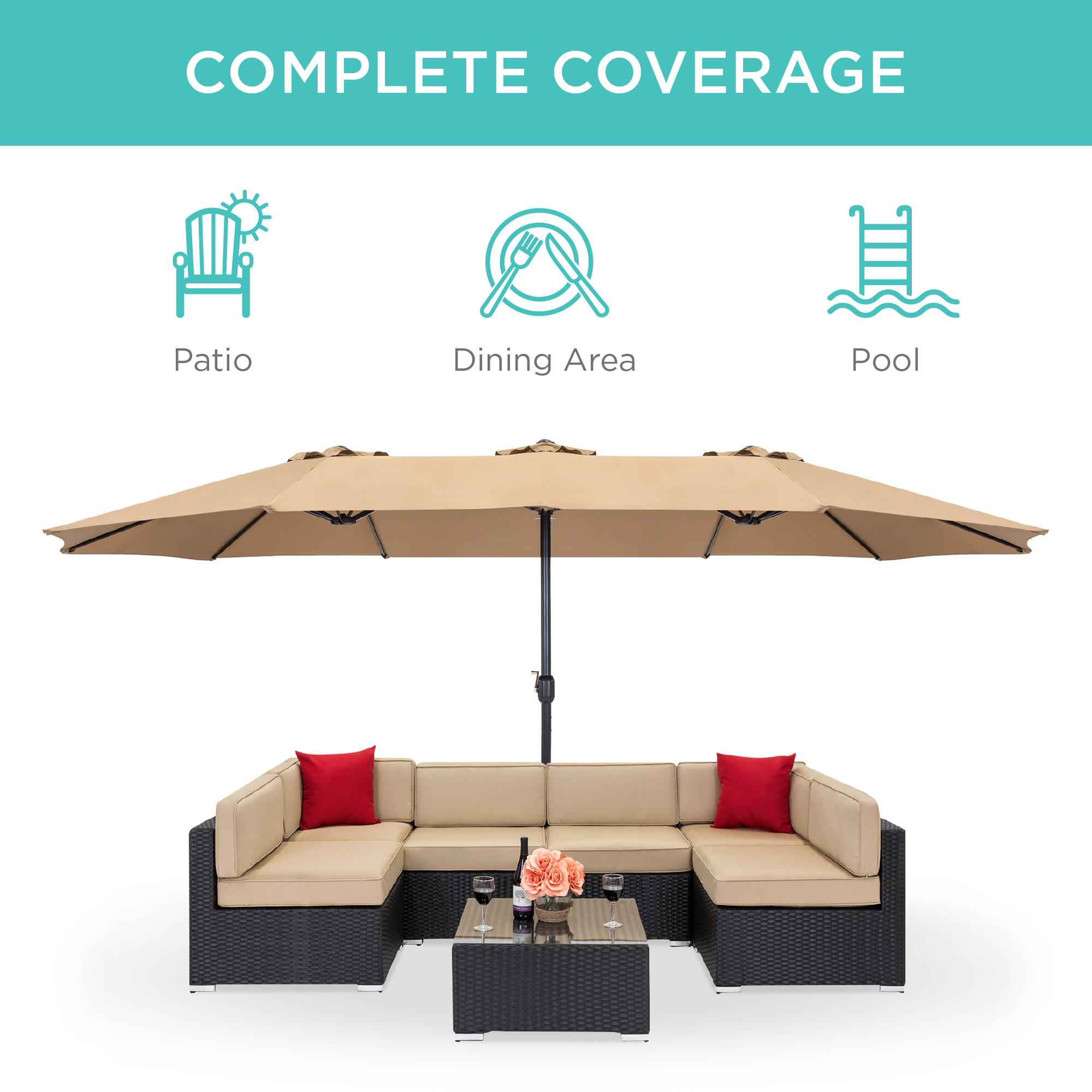 best choice products 15x9ft large double sided rectangular outdoor aluminum twin patio market umbrella w crank white